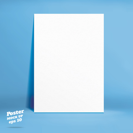 paper product: Vector : White paper poster in blue studio room, Template mock up for display of product,Business backdrop.
