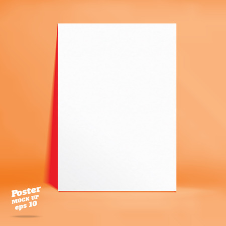paper product: Vector : White paper poster in orange studio room, Template mock up for display of product,Business backdrop.
