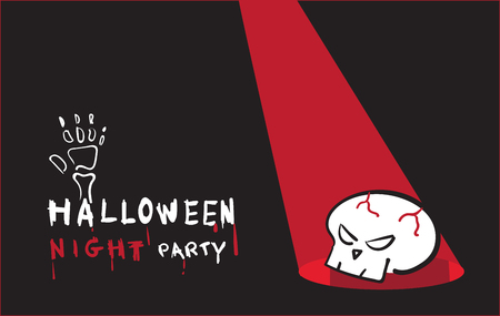 holiday invitation: Vector, Halloween night party invitation card with skull on black background,Holiday concept.