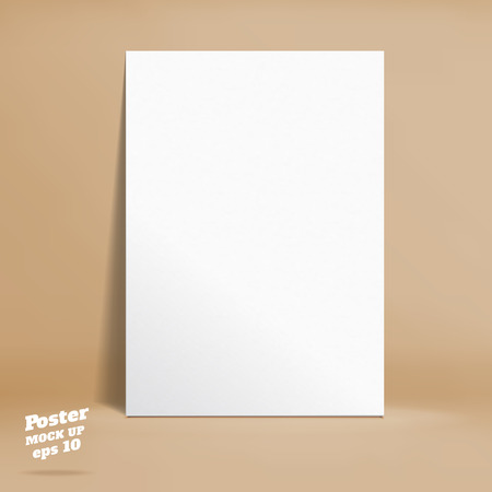 paper product: Vector : White paper poster in pastel brown studio room, Template mock up for display of product or your content ,Business backdrop.