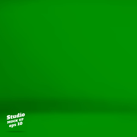 ベクトル: 空に鮮やかな緑のスタジオ ルーム背景、モック製品、ビジネス背景の表示のためにテンプレートです。