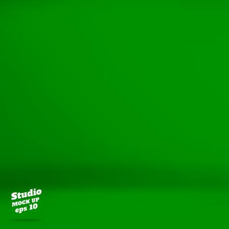 Vector: Lege levendige groene studio achtergrond, Template mock-up voor de weergave van het product, Business achtergrond. Stock Illustratie