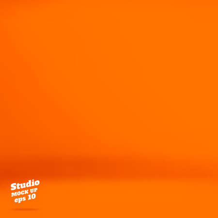 product display: Vector :Empty vivid orange studio room background ,Template mock up for display of product,Business backdrop. Illustration