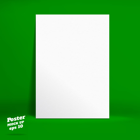 galley: Vector : White paper poster in vivid dark green studio room, Template mock up for display of product or your content ,Business backdrop. Illustration