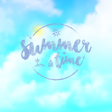 blue summer sky: Vector : Summer time logo on blue sky background, Vacation Concept. Illustration