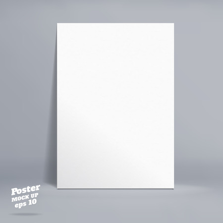 paper product: Vector : White paper poster in grey studio room, Template mock up for display of product or your content ,Business backdrop.