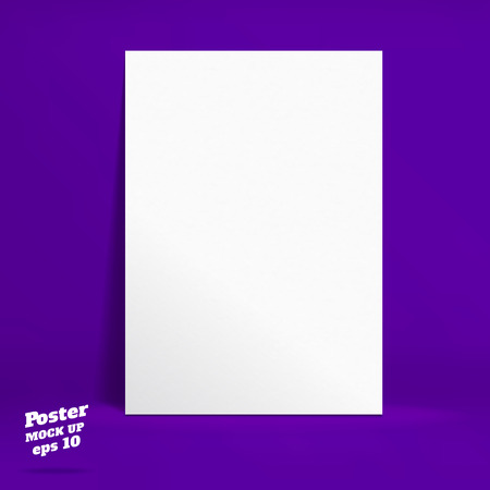 galley: PrintVector : White paper poster in vivid dark purple studio room, Template mock up for display of product or your content ,Business backdrop. Illustration