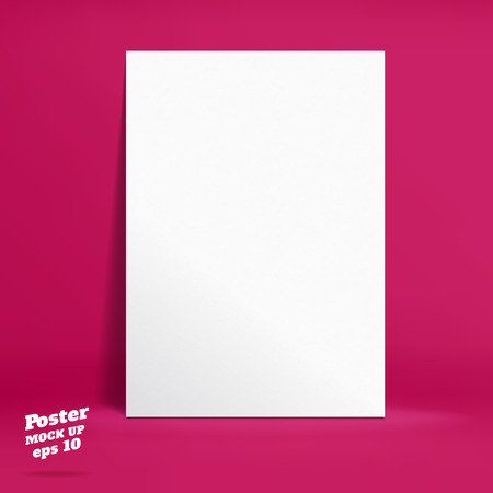paper product: Vector : White paper poster in vivid pink studio room, Template mock up for display of product or your content ,Business backdrop. Illustration