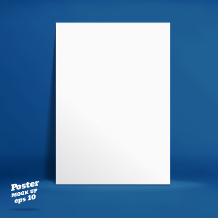 paper product: Vector : White paper poster in navy blue studio room, Template mock up for display of product or your content ,Business backdrop.