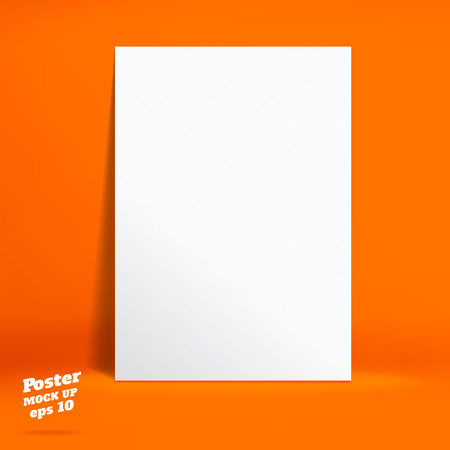 galley: Vector : White paper poster in Vivid orange studio room, Template mock up for display of product or your content ,Business backdrop. Illustration