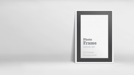 Vector, Blank Photo Frame in white studio room, Template mock up for display or montage of your content,Business presentation backdrop, 16:9 ratio background.