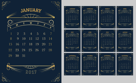 Vector of Calendar 2017 year ,12 month calendar with Gold Vintage ornamental frame,week start at Sunday.