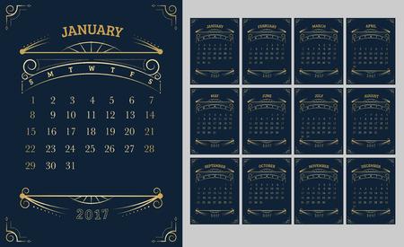 monthly calendar: Vector of Calendar 2017 year ,12 month calendar with Gold Vintage ornamental frame,week start at Sunday.
