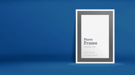 azul marino: Vector, Blank Photo Frame in navy blue studio room, Template mock up for display or montage of your content,Business presentation backdrop, 16:9 ratio background. Vectores