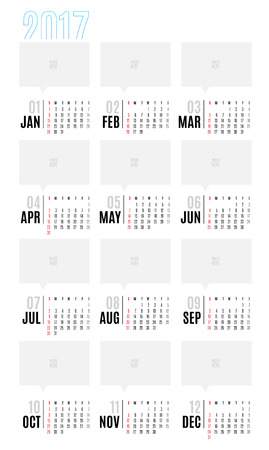 calender: Vector of Calendar 2017 year ,12 month calendar with simple basic style,week start at Sunday,Template for place your photo.