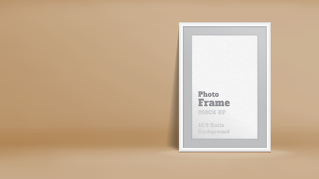 photo montage: Vector, Blank Photo Frame in pastel brown studio room, Template mock up for display or montage of your content,Business presentation backdrop, 16:9 ratio background. Illustration