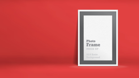 photo montage: Vector, Blank Photo Frame in red studio room, Template mock up for display or montage of your content,Business presentation backdrop, 16:9 ratio background.