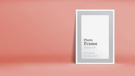 pink rose: Vector, Blank Photo Frame in pastel rose orange studio room, Template mock up for display or montage of your content,Business presentation backdrop, 16:9 ratio background.