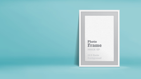 frame wall: Vector, Blank Photo Frame in pastel turquoise studio room, Template mock up for display or montage of your content,Business presentation backdrop, 16:9 ratio background.