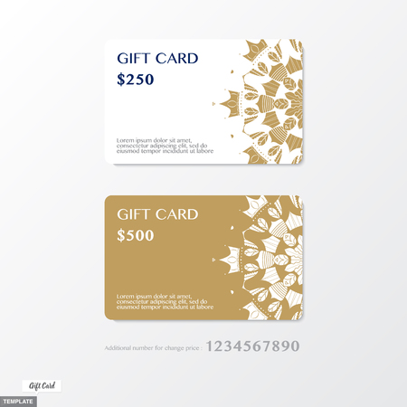premium: Vector, Premium Gift card with ornament graphic on gold and white background with bonus number for change the price,Template design.