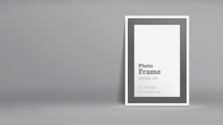 photo backdrop: Vector, Blank Photo Frame in dark grey studio room, Template mock up for display or montage of your content,Business presentation backdrop, 16:9 ratio background.