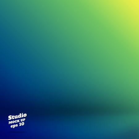 product display: Vector,Empty studio room background with green and blue Material design gradient style color ,Template mock up for display of product,Business backdrop.