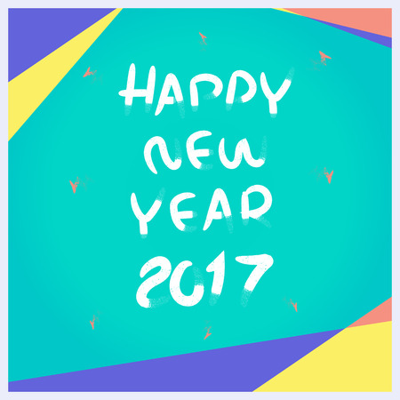 advertising material: Vector, Happy New year 2017 pencil brush with material design frames style, Holiday Template mock up for advertising on social media ads.