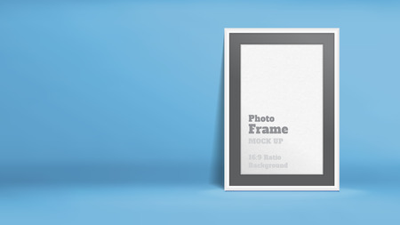 photo montage: Vector, Blank Photo Frame in blue studio room, Template mock up for display or montage of your content,Business presentation backdrop, 16:9 ratio background. Illustration
