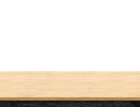 counter top: Empty light wood table top isolate on white background, Leave space for placement you background,Template mock up for display of product.