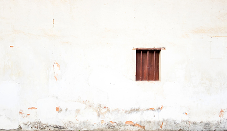 cement wall: Wood close window on white grunge cement wall,Texture background. Stock Photo