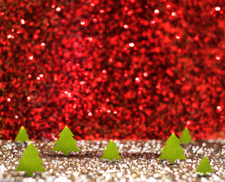 christmas room: green christmas tree (3D rendering) in red and gold glitter studio room, Holiday Concept,Leave space for adding your content. Stock Photo