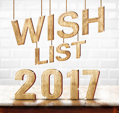 wishlist: Wishlist 2017 wood texture on marble table with white ceramic tile wall,Holiday concept.