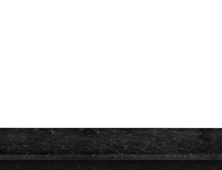 Empty luxury black marble table top isolate on white background, Leave space for placement you background,Template mock up for display of product. 写真素材
