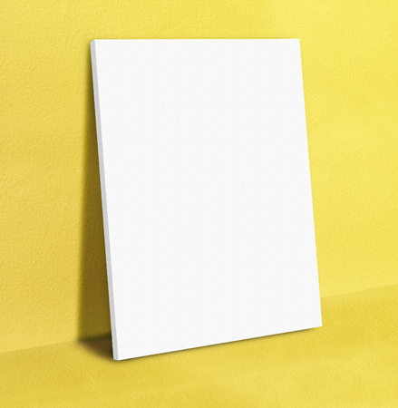 Blank White Poster Canvas Frame Leaning At Yellow Concrete Paint ...