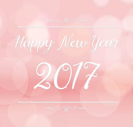 color of year: Happy new year 2017 with decoration on pink color abstract bokeh light background. Stock Photo