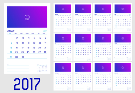 adding: Vector of Calendar 2017 year ,12 month calendar with simple basic style with note line,week start at Sunday,Template for adding your photo. Illustration