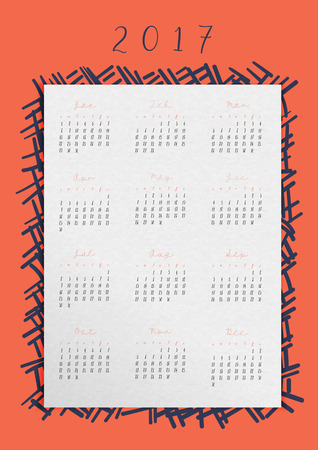months: Vector Calendar of 2017 year in a4 ratio,All 12 month on white paper with doodle abstract frame on red-orange background.