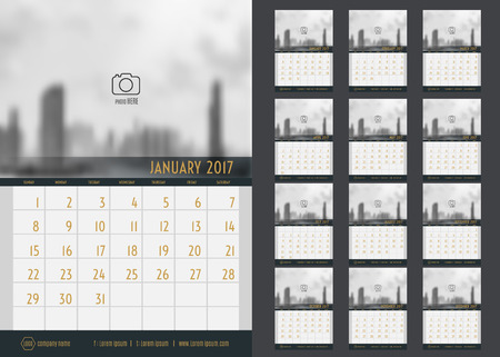 mon 12: Vector of Calendar 2017 year ,12 month calendar set with modern style,week start at Sunday,Template for place your photo.