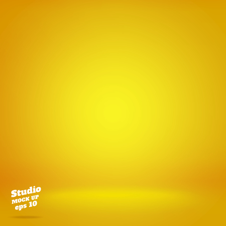 Vector,Empty vivid lighting yellow studio room background ,Template mock up for display or montage of product,Business backdrop. Vectores