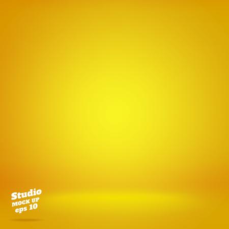 Vector, Fondo de sala de estudio amarillo de iluminación vívida vacía, maqueta de plantilla para exhibición o montaje de producto, telón de fondo de negocios.