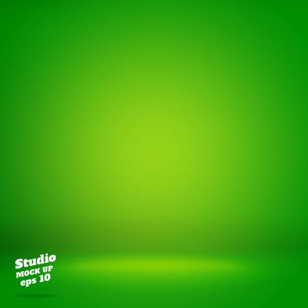 Vector, Vacío iluminación de fondo vivo sala de estudio verde, la plantilla se burlan de ellos para su presentación o montaje de producto, contexto de negocios. Ilustración de vector