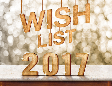 wish  list: Wish list 2017 wood texture on marble table with sparkling bokeh wall,holiday concept.