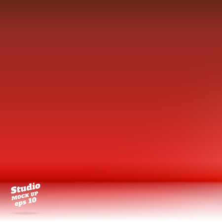 product display: Vector,Empty white floor gradient to vivid red studio room background ,Template mock up for display or montage of product,Business backdrop