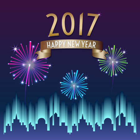 new year greeting: Vector of 2017 happy new year with gold ribbon with firework in city building at night background,Holiday celebration.