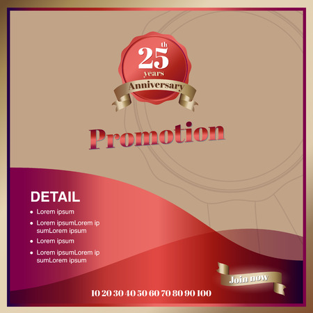 year curve: Vector,promoton anniversary square banner in luxury ribbon and emblem style, mock up for social media or website advertising,Leave space for display of product.