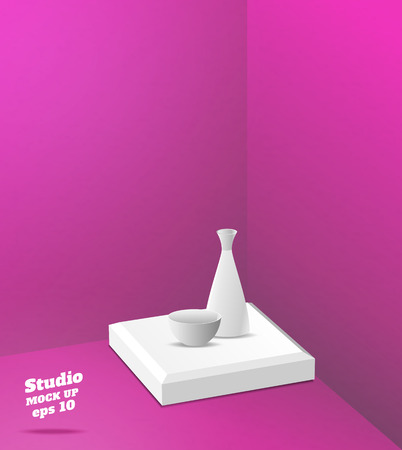Vector,Empty pink studio room with corner background ,Template mock up for display or montage of product,Business backdrop Illustration