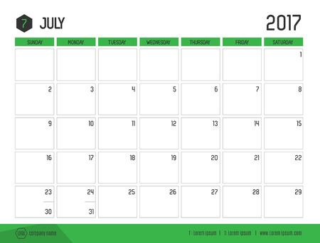 calendario julio: Vector del calendario 2017 año nuevo, julio con barras de color verde y plantilla de estilo moderno, limpio, inicio de la semana en domingo.