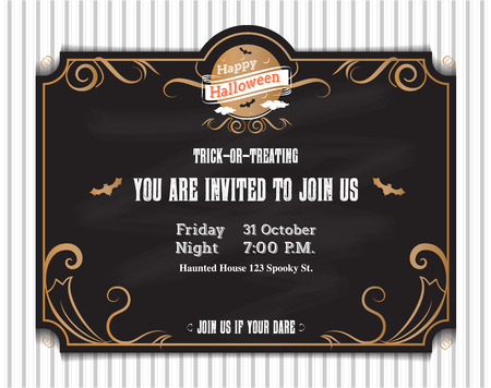 holiday invitation: vector,Halloween invitation card to party with vintage ornament frame style on black background,Holiday card template. Illustration