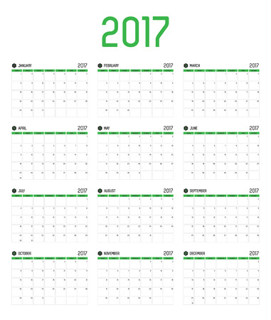 month: Vector of Calendar 2017 new year ,12 month calendar set with green bar color and clean modern style,Week start at Sunday..