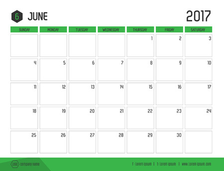 monthly planner: Vector of Calendar 2017 new year, June with green bar color and clean modern style template ,Week start at Sunday.